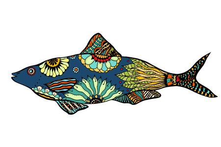 gestileerde Fish. doodle illustratie op een witte achtergrond. Schets voor tatoeage of makhenda. Zee voedsel collectie.