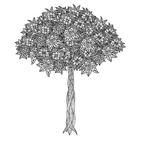 jardines con flores: �rbol con las hojas y las flores. Vector. P�gina para colorear libro para adultos. Dibujado a mano. concepto de Bohemia para la invitaci�n de boda, tarjeta, boleto, marca, logotipo, etiqueta. En blanco y negro Vectores