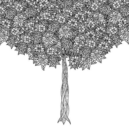 tatouage fleur: Arbre � feuilles et des fleurs. Vecteur. Coloriage page du livre pour les adultes. Dessin� � la main. concept de Boh�me pour invitation de mariage, carte, billet, marque, logo, �tiquette. Noir et blanc Illustration
