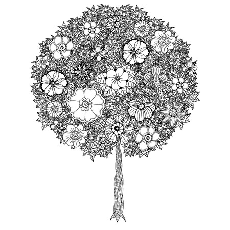 flower tree: Tree with leaves and flowers. Vector. Coloring book page for adults. Hand drawn. Bohemia concept for wedding invitation, card, ticket, branding, logo, label. Black and white