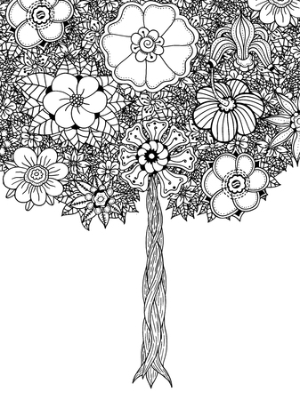 flower white: Tree with leaves and flowers. Vector. Coloring book page for adults. Hand drawn. Bohemia concept for wedding invitation, card, ticket, branding, logo, label. Black and white