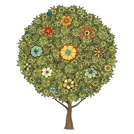 tatouage fleur: Arbre � feuilles et des fleurs. Vecteur. Dessin� � la main. Illustration