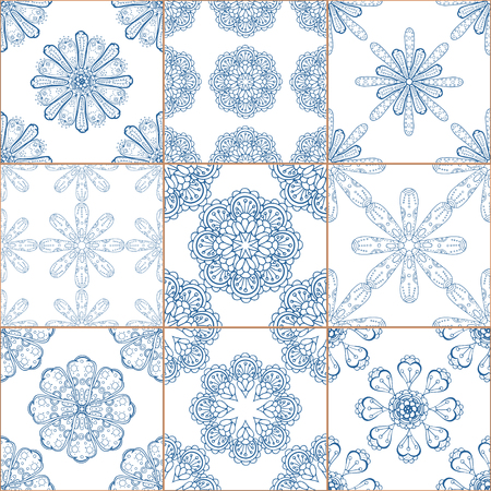 tiles texture: Indigo blue Tiles Floor Ornament Collection. Gorgeous Seamless Patchwork Pattern from Traditional Painted Tin Glazed Ceramic Tilework Vintage Illustration. For web page template background Illustration