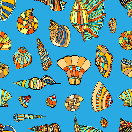 cockleshell: stylized sea cockleshell seamless pattern. Hand Drawn aquatic doodle vector illustration. Sketch for tattoo or makhenda. Seashell collection. Ocean life.