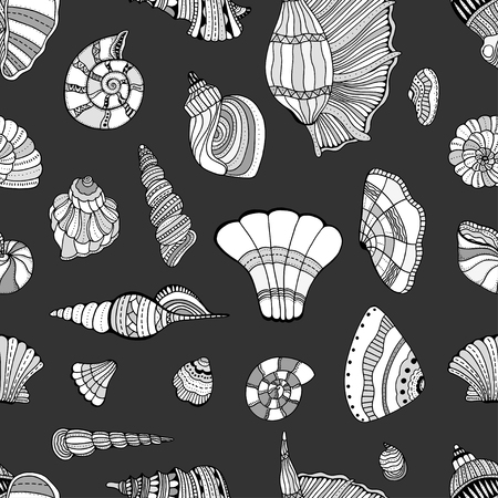 aquatic: stylized sea cockleshell seamless pattern. Hand Drawn aquatic doodle vector illustration. Sketch for tattoo or makhenda. Seashell collection. Ocean life.