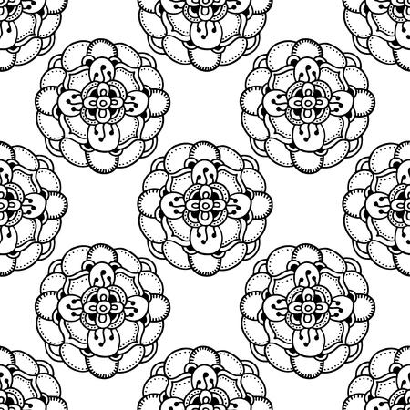 dessin fleur: Motif vectorielle Seamless Floral Monochrome. Hand Drawn Floral Texture, Fleurs d�coratives, Coloring Book Illustration