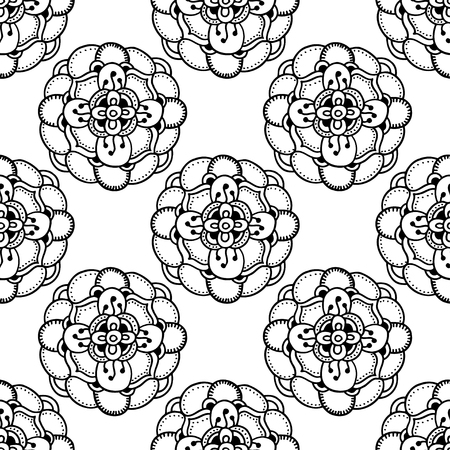 flower line: Vector Seamless Monochrome Floral Pattern. Hand Drawn Floral Texture, Decorative Flowers, Coloring Book Illustration