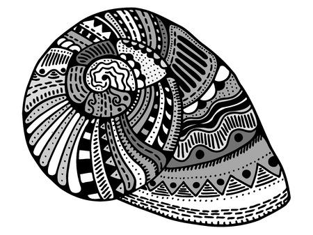concha estilizada zentangle. Dibujados a mano de la ilustración del vector del Doodle acuático. Boceto para el tatuaje o makhenda. colección de conchas marinas. vida del océano. Ilustración de vector
