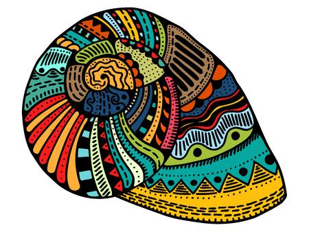 Seashell. Vector illustration. Zentangle. Hand drawn artwork. Beach concept for restaurant menu card, ticket, branding, logo label.