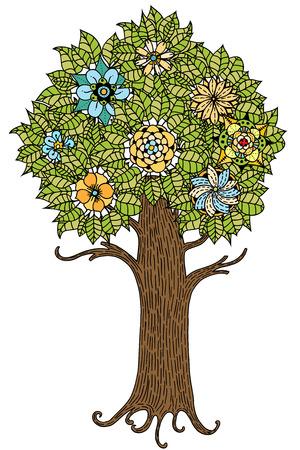 dessin fleur: Arbre � feuilles et des fleurs. Vecteur. Dessin� � la main. Illustration