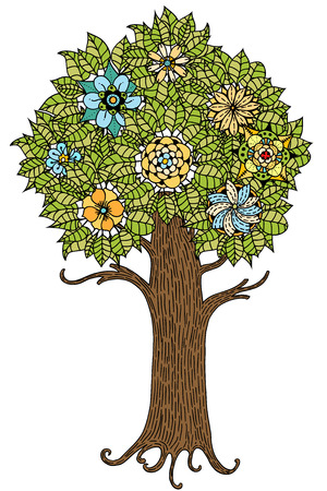 retro flower: Tree with leaves and flowers. Vector. Hand drawn.