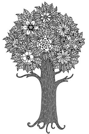 patrones de flores: �rbol con las hojas y las flores. Vector. P�gina para colorear libro para adultos. Dibujado a mano. concepto de Bohemia para la invitaci�n de boda, tarjeta, boleto, marca, logotipo, etiqueta. En blanco y negro Vectores