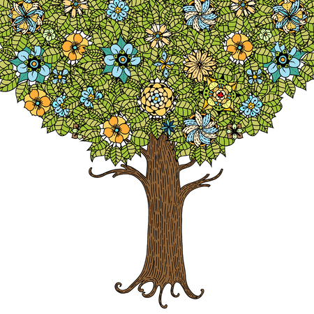 flower designs: Tree with leaves and flowers. Vector. Hand drawn.