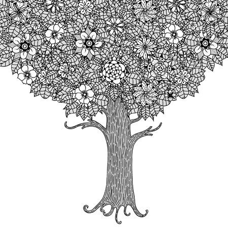 Árbol con las hojas y las flores. Vector. Página para colorear libro para adultos. Dibujado a mano. concepto de Bohemia para la invitación de boda, tarjeta, boleto, marca, logotipo, etiqueta. En blanco y negro