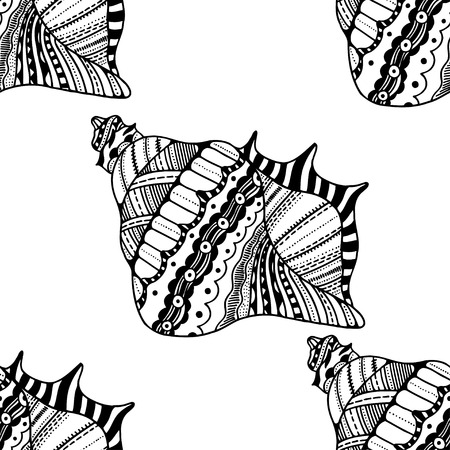 cockleshell: stylized sea cockleshell seamless pattern. Hand Drawn aquatic doodle illustration. Sketch for tattoo . Seashell collection. Ocean life. Illustration