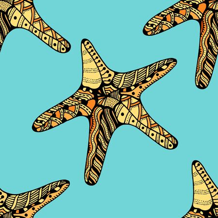 seafish: Seamless background of Starfish.