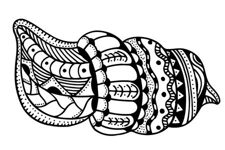 cockleshell: stylized shell. Hand Drawn aquatic doodle  illustration. Sketch for tattoo or makhenda. Seashell collection. Ocean life.