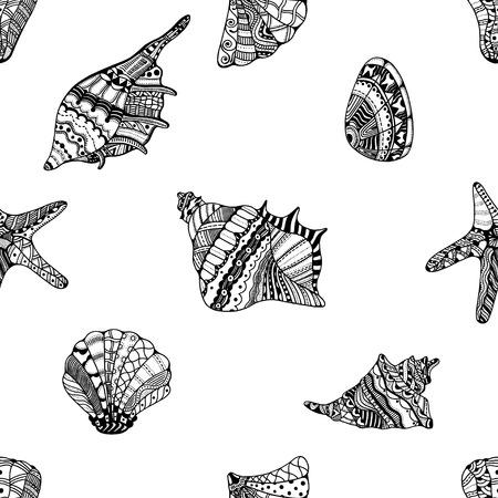 cockleshell: stylized sea cockleshell seamless pattern. Illustration