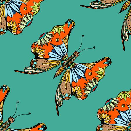lear: stylized Butterfly seamless pattern for fabric. Hand Drawn illustration. Insect collection. Illustration