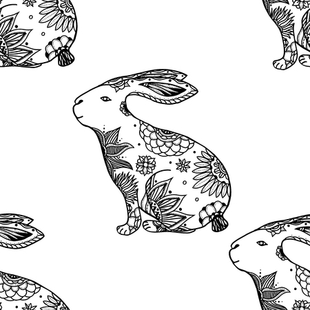 might: stylized animal seamless pattern background with rabbits. Doodle elements might be used as decorative fabric or case print Illustration