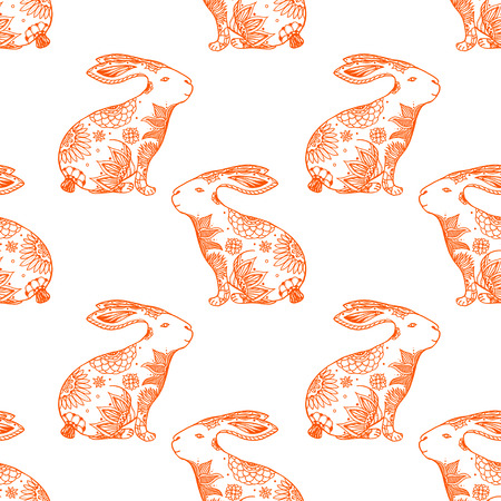 might: stylized animal  seamless pattern background with rabbits. Doodle elements might be used as decorative fabric or case print