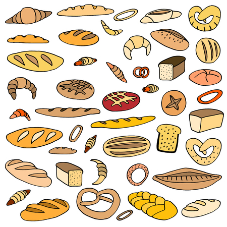 pita bread: Set of various doodles, rough simple sketches of different kinds of bread. freehand illustration isolated on white background.