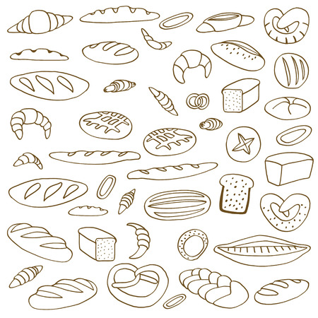 french board: Set of various doodles,  rough simple sketches of different kinds of bread. freehand illustration isolated on white background.