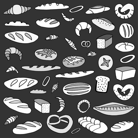 wholemeal: Set of various doodles,  rough simple sketches of different kinds of bread. freehand illustration isolated on white background.