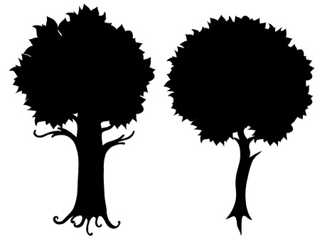 coppice: Set of tree silhouette illustration. Isolated on white Illustration