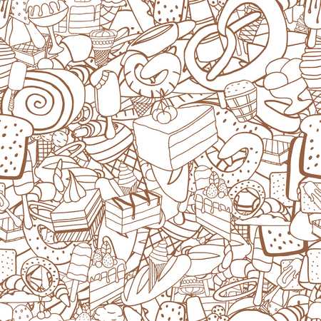 icecream: Seamless pattern of ice-cream, Bread and cake. Monochrome doodle elements. Illustration