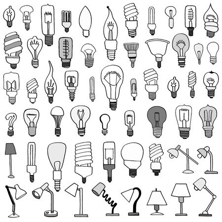 turn table: Set of Bulb Doodle. Vector illustration, isolated on white