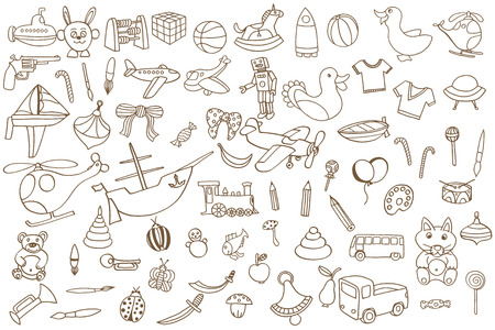baby toys: Brown Funny baby toys set. Vector doodle collection of hand drawn icons for baby shower or scrapbook