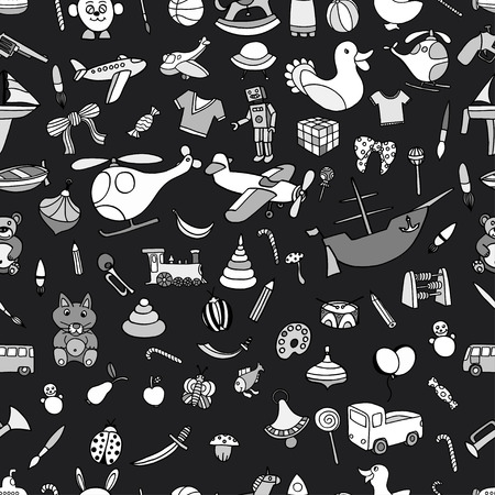 Monochrome Seamless background of Funny baby toys set. Vector doodle collection of hand drawn icons for baby shower or scrapbook