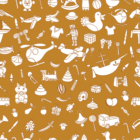 Brown Seamless background of Funny baby toys set. Vector doodle collection of hand drawn icons for baby shower or scrapbook