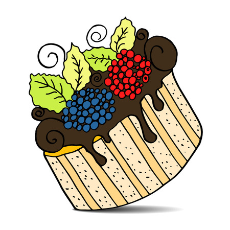 brownie: Vector of hand drawn cake with berries. Isolated on white