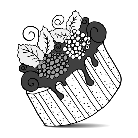 Monochrome Vector of hand drawn cake with berries. Isolated on white