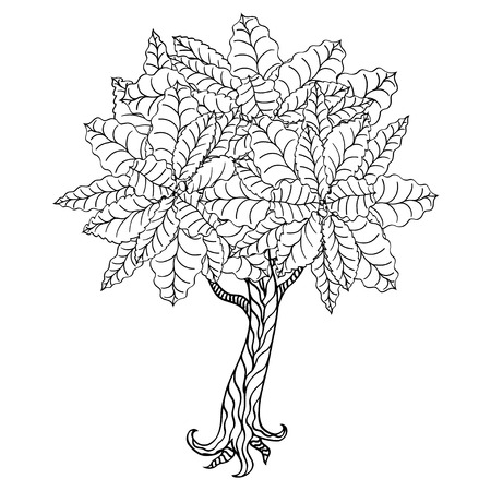 Tree With Leaves And Flowers. Vector. Coloring Book Page For ...