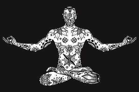 yogi aura: Monochrome Hand drawn vector Yoga lotus pose with floral elements in black and white doodle style. Pattern for coloring book
