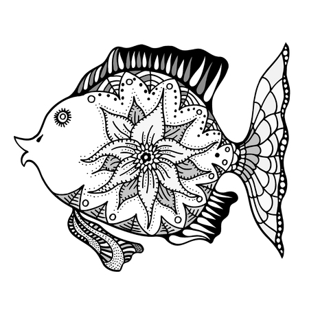Hand Drawn Vector Fish With Floral Elements In Black And White ...
