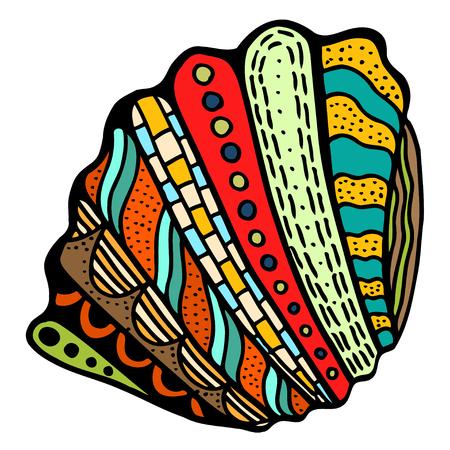 Seashell. Vector illustration. Hand drawn artwork. Beach concept for restaurant menu card, ticket, branding, label.
