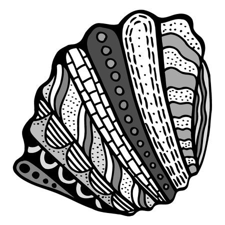 mollusk: Seashell. Vector illustration. Hand drawn artwork. Beach concept for restaurant menu card, ticket, branding, label.