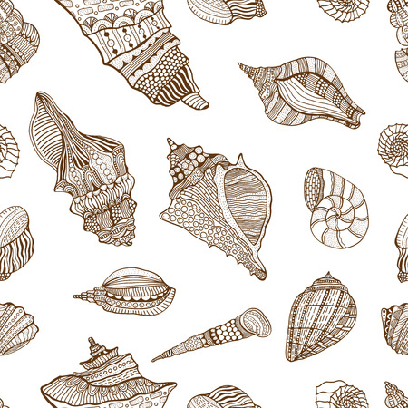 cockleshell: Zentangle stylized sea cockleshell seamless pattern. Hand Drawn aquatic doodle vector illustration. Sketch for tattoo or makhenda. Seashell collection. Ocean life.