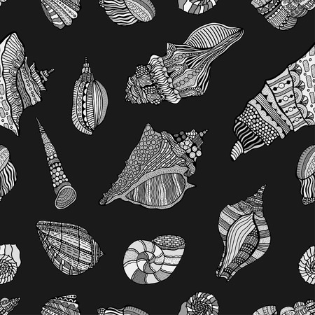 aquatic: sea cockleshell seamless pattern. Hand Drawn aquatic doodle vector illustration. Sketch for tattoo or makhenda. Seashell collection. Ocean life.