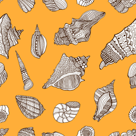 cockleshell: sea cockleshell seamless pattern. Hand Drawn aquatic doodle vector illustration. Sketch for tattoo or makhenda. Seashell collection. Ocean life.