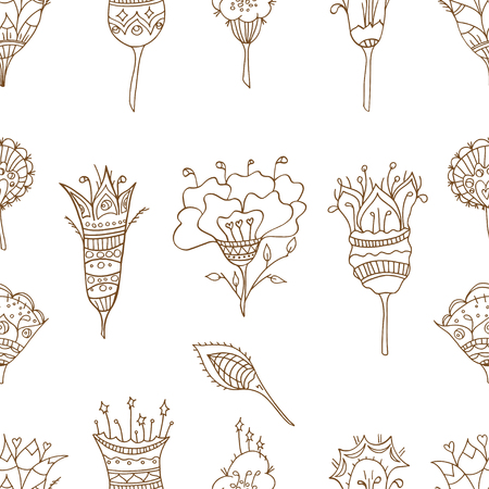 curtain up: Seamless floral pattern. Vector illustration, drawn doodle