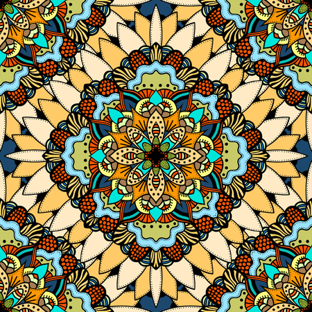 red rug: Seamless vector colorful pattern. East ornament with gold contour and colorful details on the turquoise background. Tracery of mandalas for textile.