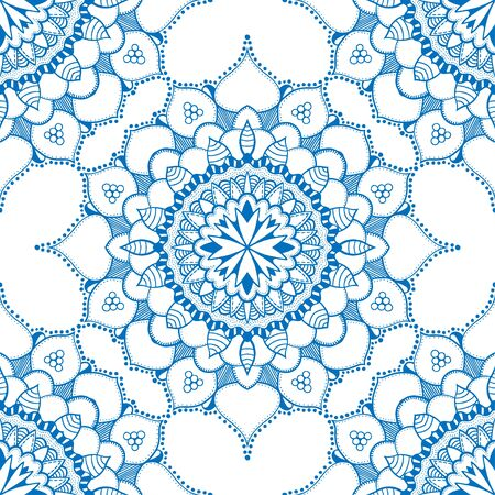 national fruit of china: Seamless floral pattern. Seamless floral pattern of circular ornaments. Blue ornament of berries and flowers in the style of Chinese painting on porcelain. Vector illustration.