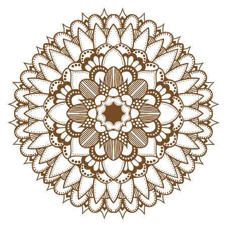 yantra: Abstract floral ornament Mehndi Henna Tattoo Mandala, Yantra brown. Vintage vector banner frame card for text invitations for wedding birthday celebration, white background  indian, ethnic, boho