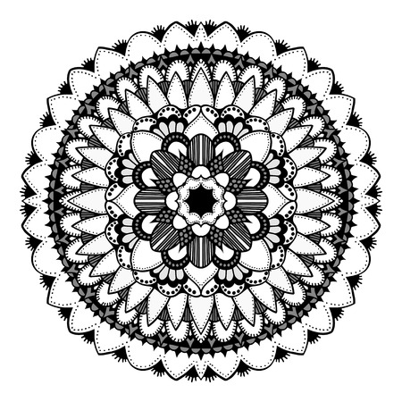 samsara: Mandala. Vector Ethnic Oriental Circle Ornament. Monochrome Colors. Shades of Grey Illustration