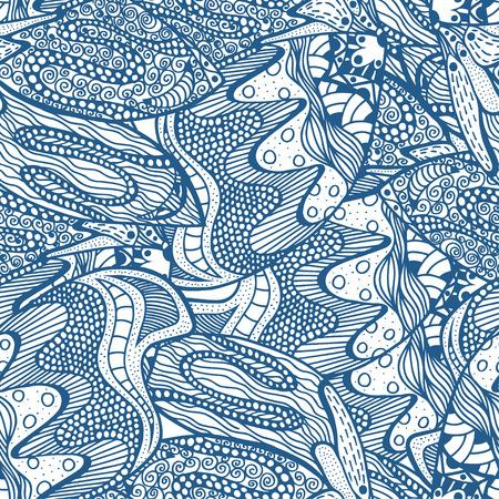 Blue Seamless abstract hand-drawn pattern. Vector illustration Illustration